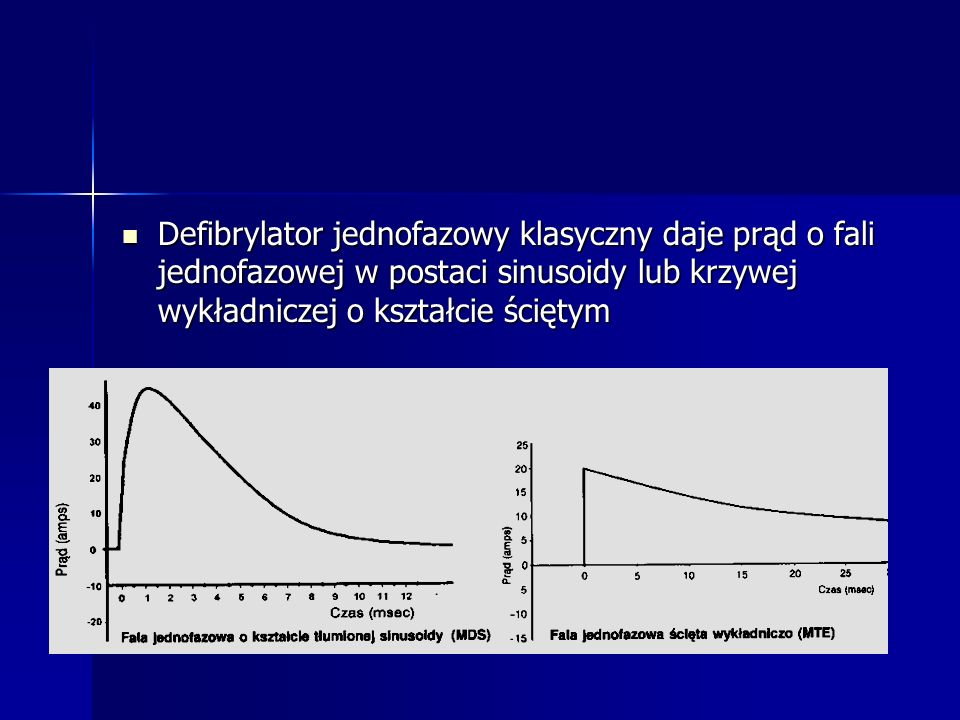 Defibrylator jednofazowy klasyczny daje prąd o fali jednofazowej w postaci sinusoidy lub krzywej wykładniczej o kształcie ściętym