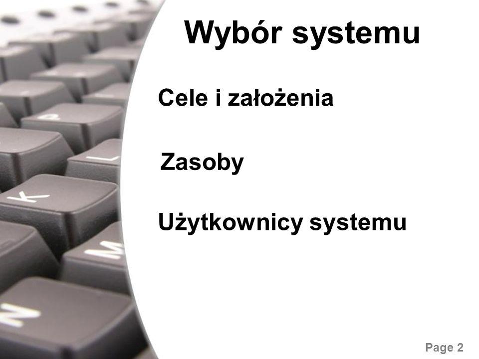 Wybór systemu Cele i założenia Zasoby Użytkownicy systemu