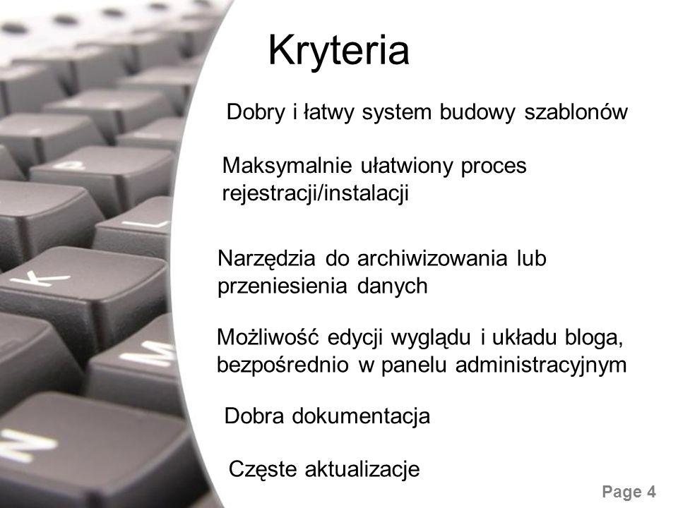 Kryteria Dobry i łatwy system budowy szablonów