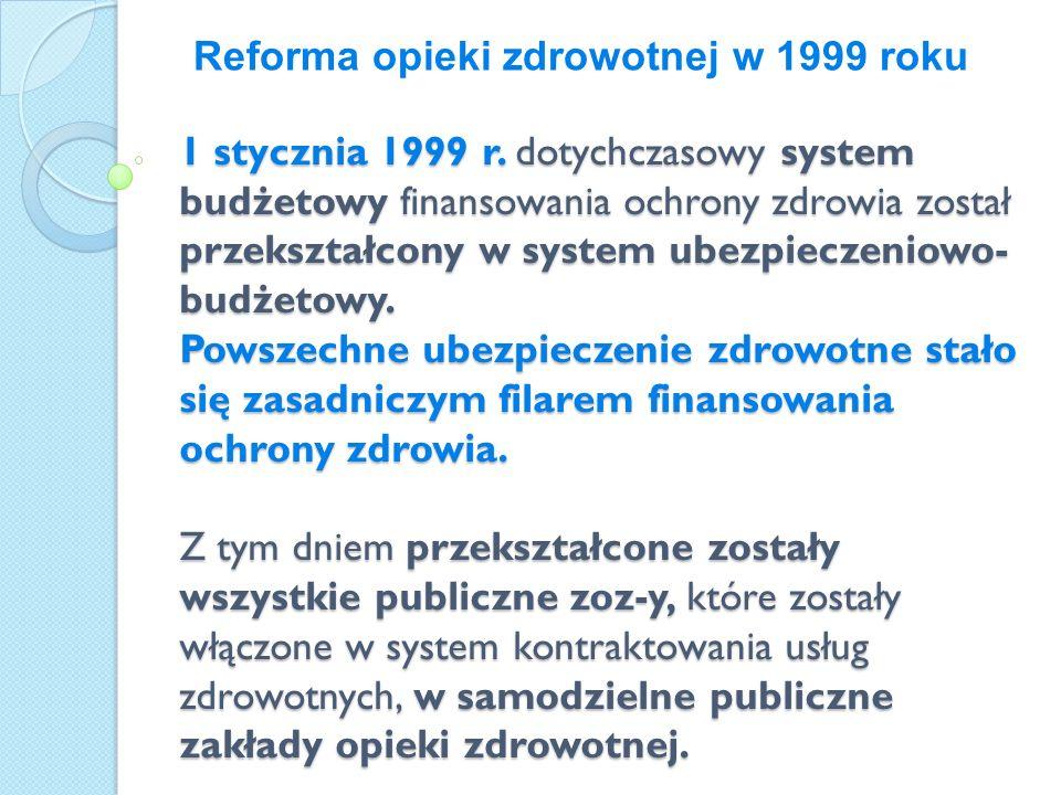 1 stycznia 1999 r. dotychczasowy system budżetowy finansowania ochrony zdrowia został przekształcony w system ubezpieczeniowo-budżetowy. Powszechne ubezpieczenie zdrowotne stało się zasadniczym filarem finansowania ochrony zdrowia. Z tym dniem przekształcone zostały wszystkie publiczne zoz-y, które zostały włączone w system kontraktowania usług zdrowotnych, w samodzielne publiczne zakłady opieki zdrowotnej.