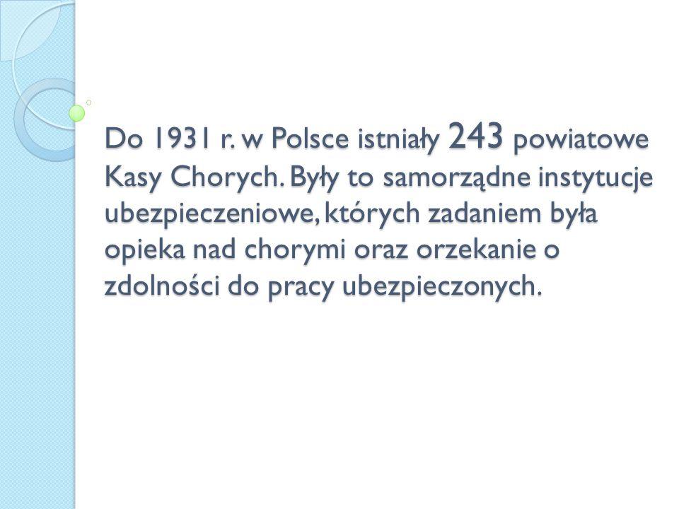 Do 1931 r. w Polsce istniały 243 powiatowe Kasy Chorych
