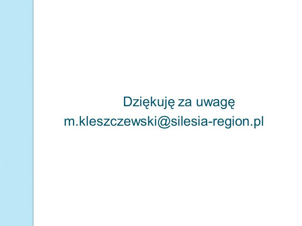Dziękuję za uwagę m.kleszczewski@silesia-region.pl