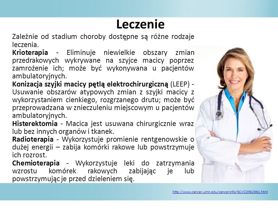 Leczenie Zależnie od stadium choroby dostępne są różne rodzaje leczenia.