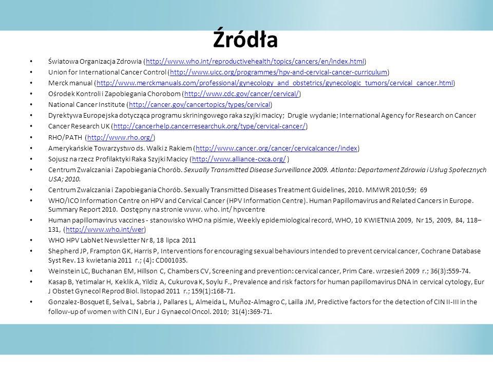 ŹródłaŚwiatowa Organizacja Zdrowia (http://www.who.int/reproductivehealth/topics/cancers/en/index.html)