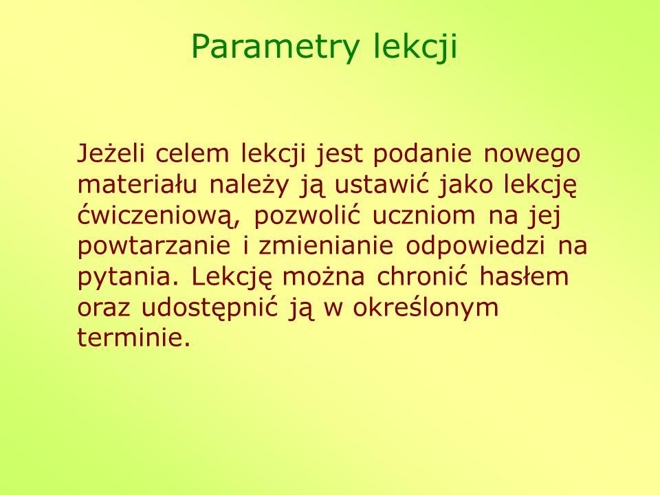 Parametry lekcji