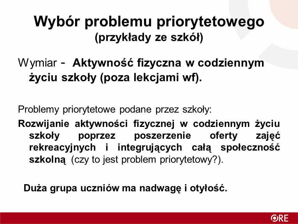Wybór problemu priorytetowego (przykłady ze szkół)