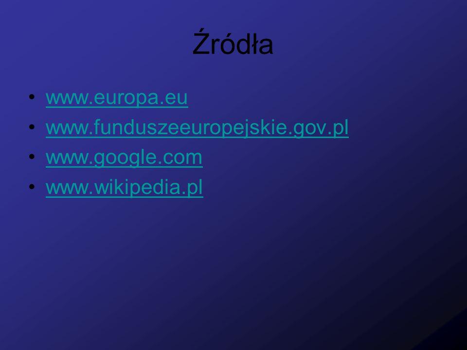 Źródła www.europa.eu www.funduszeeuropejskie.gov.pl www.google.com