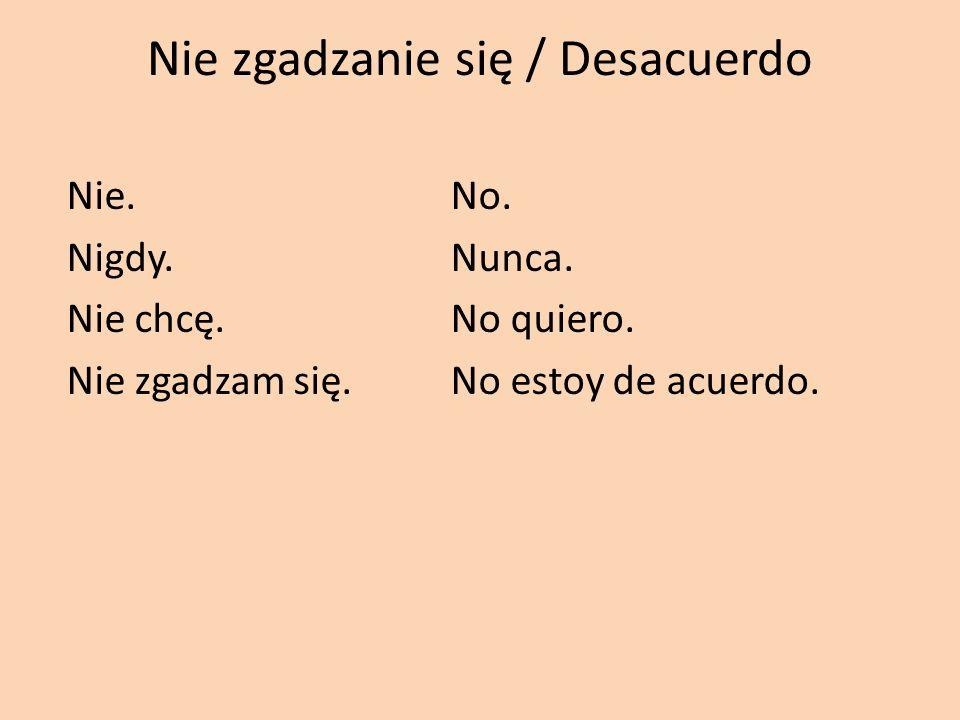 Nie zgadzanie się / Desacuerdo