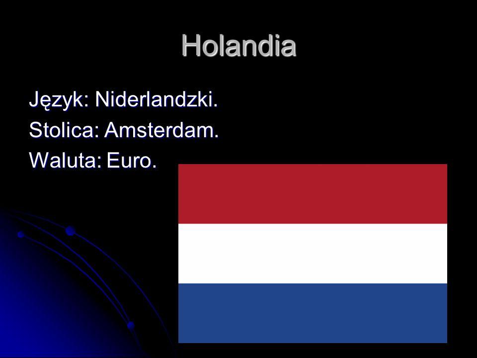 Holandia Język: Niderlandzki. Stolica: Amsterdam. Waluta: Euro.