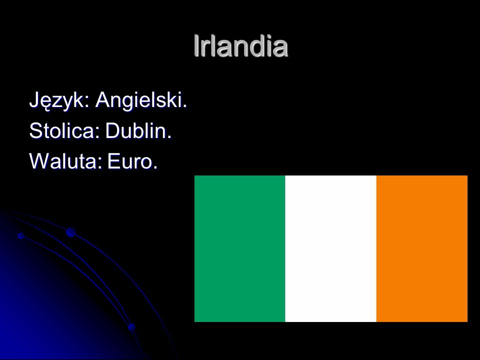 Irlandia Język: Angielski. Stolica: Dublin. Waluta: Euro.