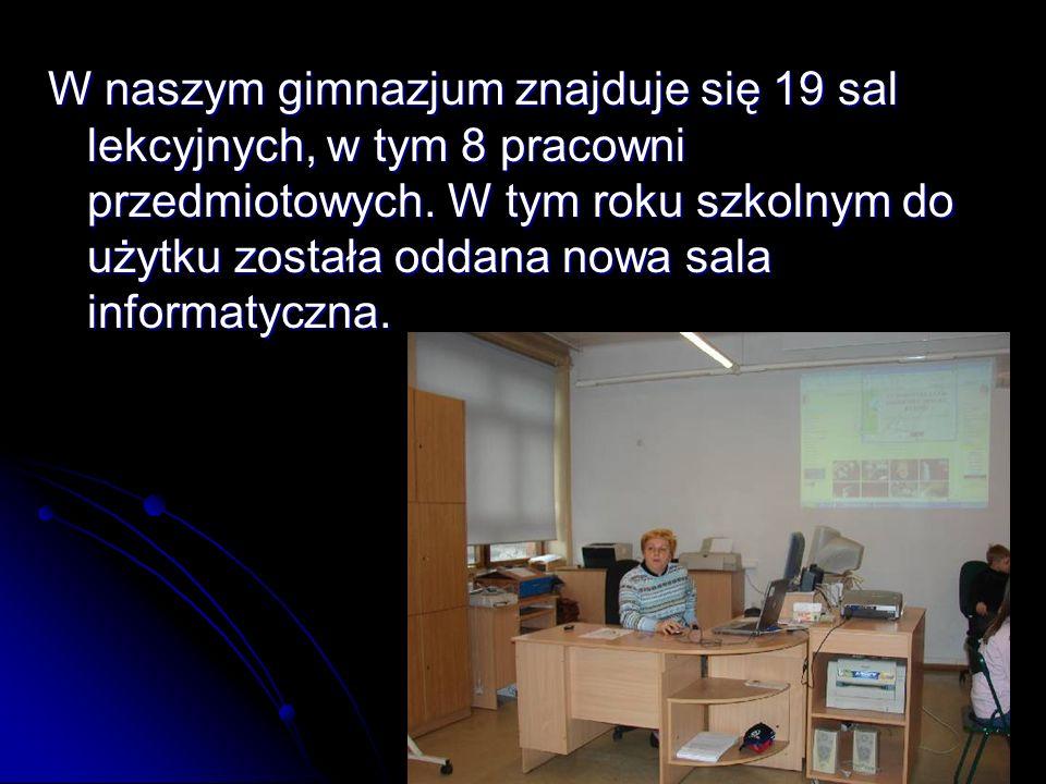 W naszym gimnazjum znajduje się 19 sal lekcyjnych, w tym 8 pracowni przedmiotowych.