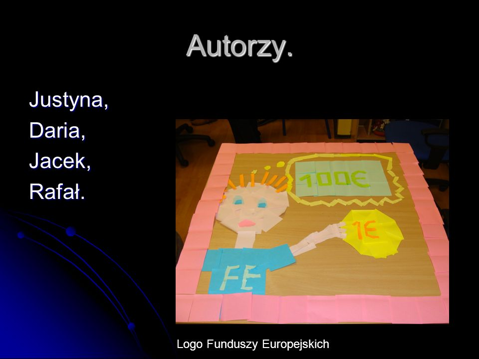 Autorzy. Justyna, Daria, Jacek, Rafał. Logo Funduszy Europejskich