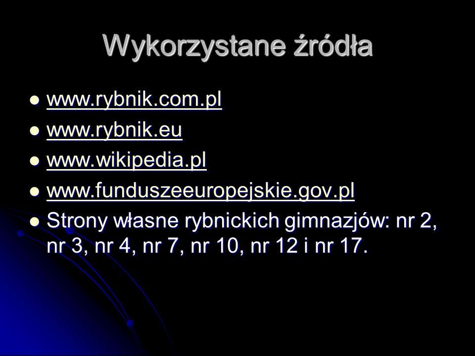 Wykorzystane źródła www.rybnik.com.pl www.rybnik.eu www.wikipedia.pl
