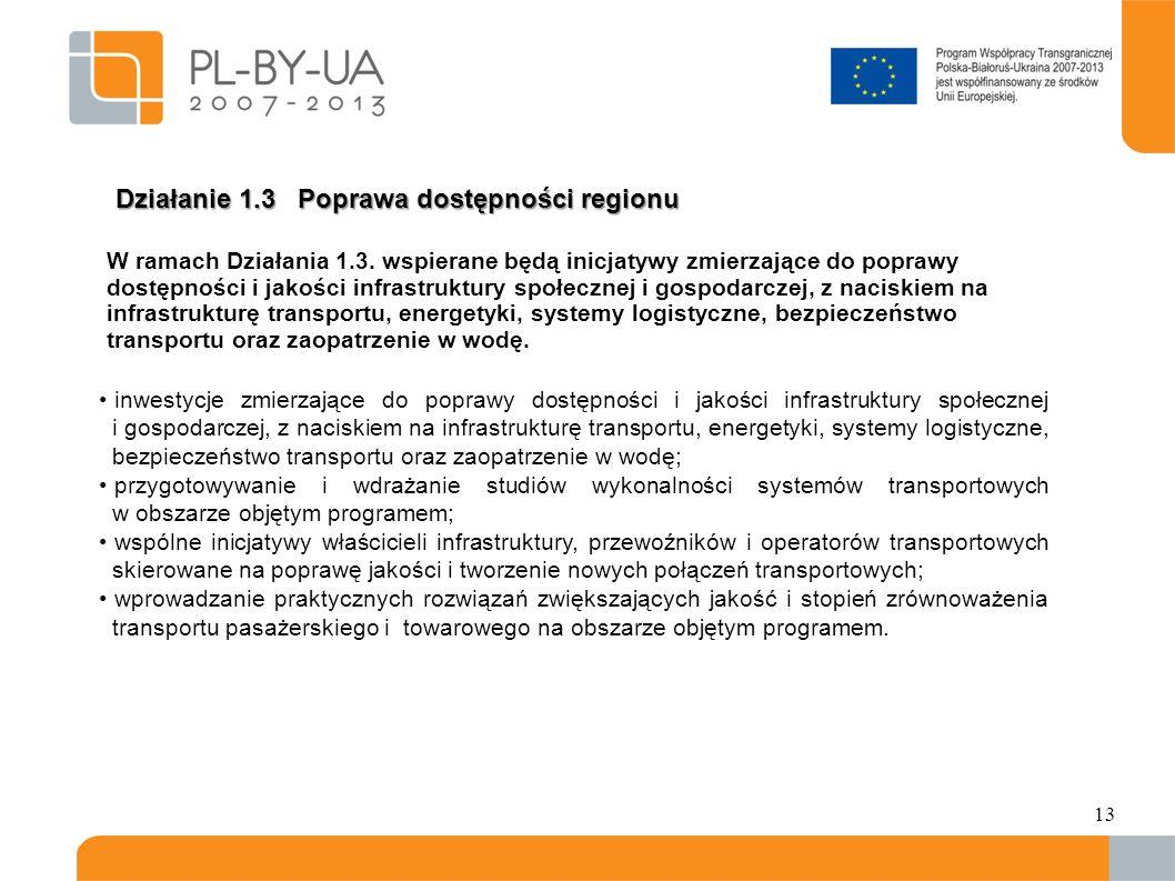 Działanie 1.3 Poprawa dostępności regionu