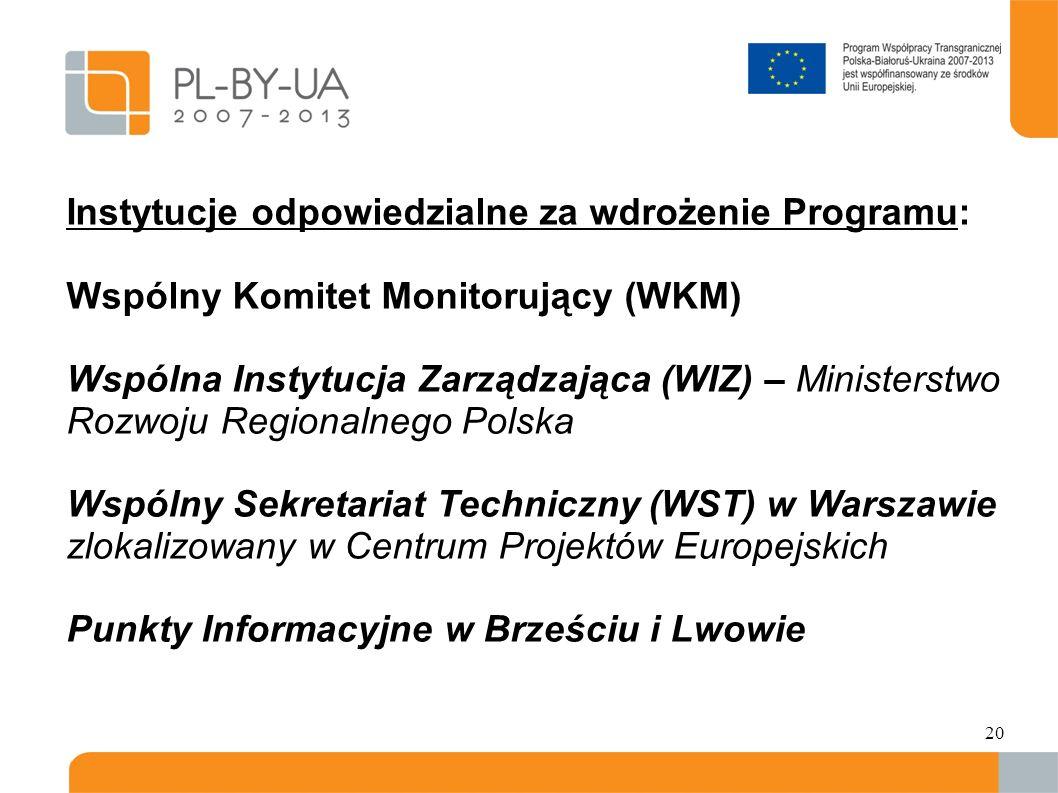 Instytucje odpowiedzialne za wdrożenie Programu: