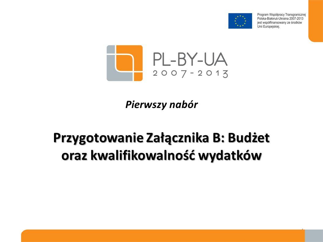 Pierwszy nabór Przygotowanie Załącznika B: Budżet oraz kwalifikowalność wydatków
