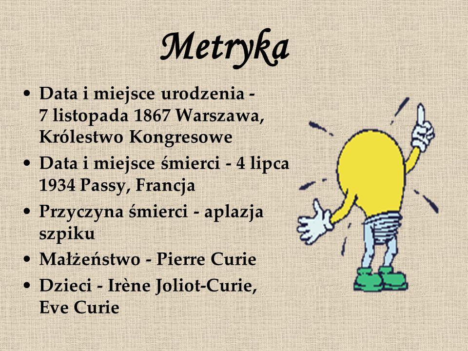 MetrykaData i miejsce urodzenia - 7 listopada 1867 Warszawa, Królestwo Kongresowe. Data i miejsce śmierci - 4 lipca 1934 Passy, Francja.