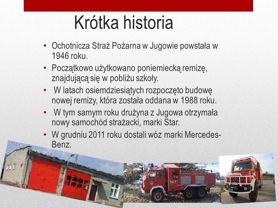 Krótka historia Ochotnicza Straż Pożarna w Jugowie powstała w 1946 roku. Początkowo użytkowano poniemiecką remizę, znajdującą się w pobliżu szkoły.