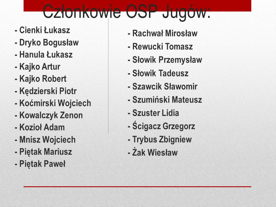 Członkowie OSP Jugów: - Rachwał Mirosław - Rewucki Tomasz