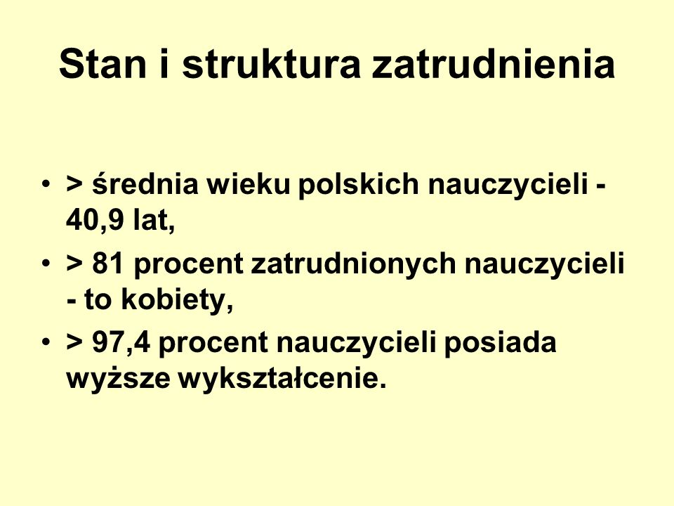 Stan i struktura zatrudnienia