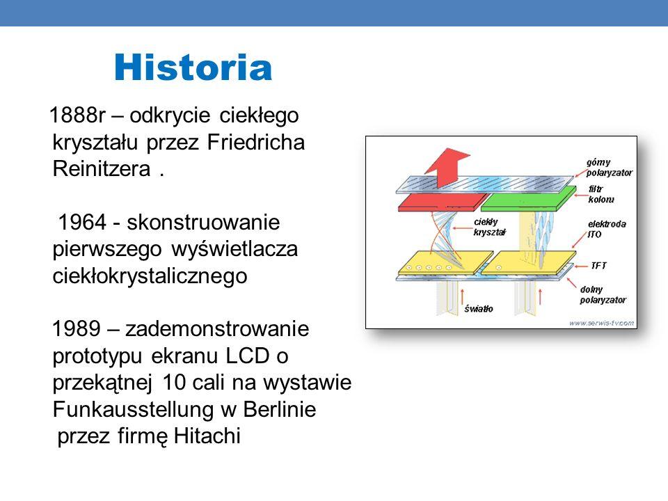Historia 1888r – odkrycie ciekłego kryształu przez Friedricha Reinitzera . 1964 - skonstruowanie pierwszego wyświetlacza ciekłokrystalicznego.