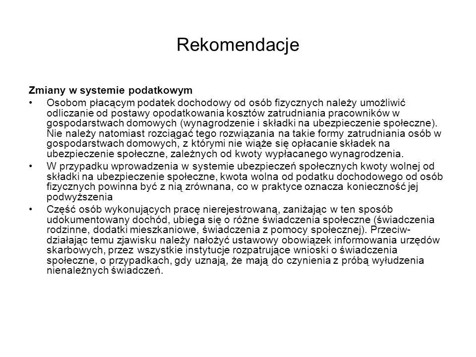 Rekomendacje Zmiany w systemie podatkowym