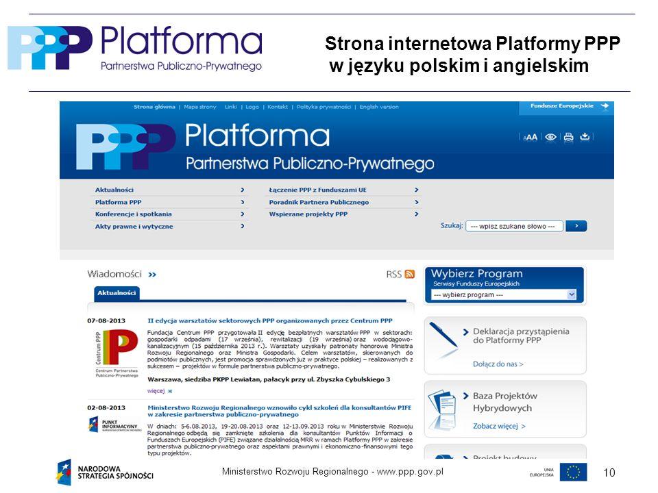 Strona internetowa Platformy PPP w języku polskim i angielskim