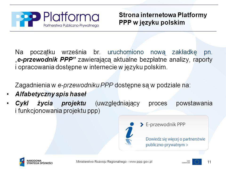 Strona internetowa Platformy PPP w języku polskim