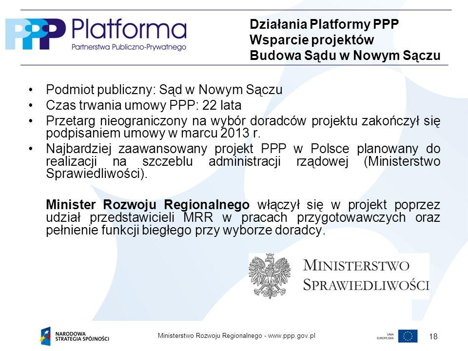Działania Platformy PPP Wsparcie projektów Budowa Sądu w Nowym Sączu