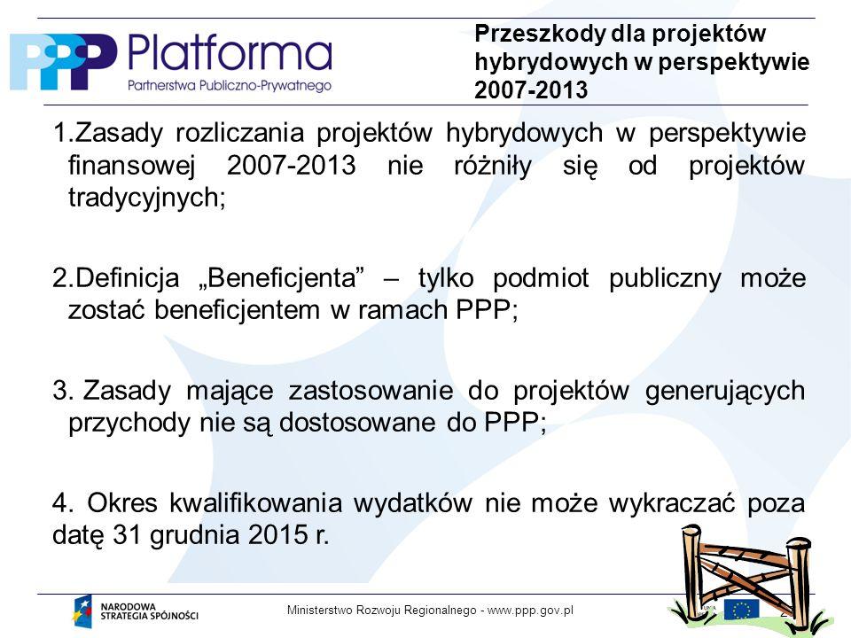 Przeszkody dla projektów hybrydowych w perspektywie 2007-2013