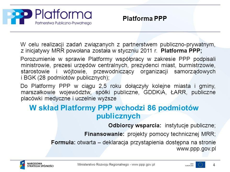 W skład Platformy PPP wchodzi 86 podmiotów publicznych