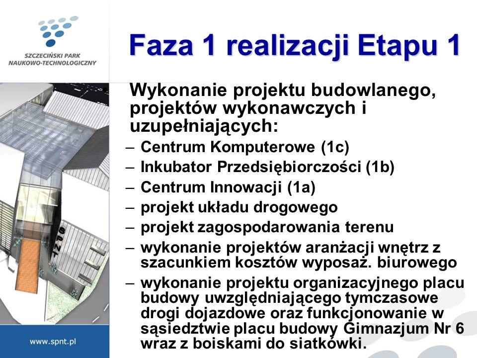 Faza 1 realizacji Etapu 1 Wykonanie projektu budowlanego, projektów wykonawczych i uzupełniających: