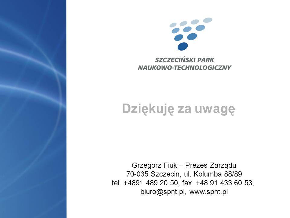 Dziękuję za uwagę Grzegorz Fiuk – Prezes Zarządu
