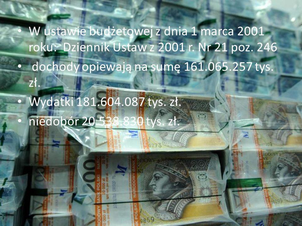 W ustawie budżetowej z dnia 1 marca 2001 roku: Dziennik Ustaw z 2001 r