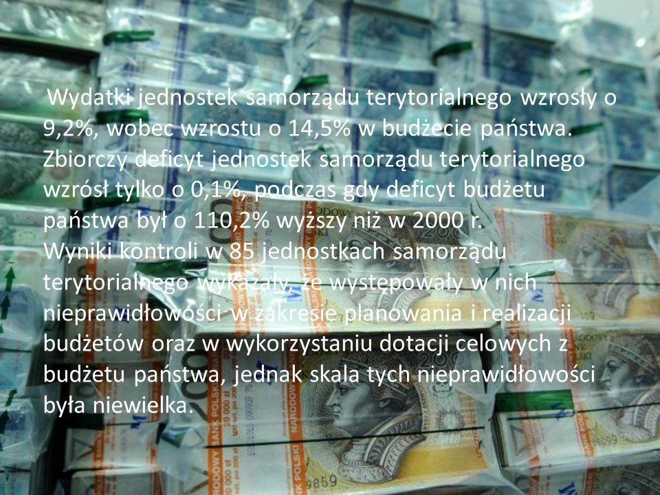 Wydatki jednostek samorządu terytorialnego wzrosły o 9,2%, wobec wzrostu o 14,5% w budżecie państwa.