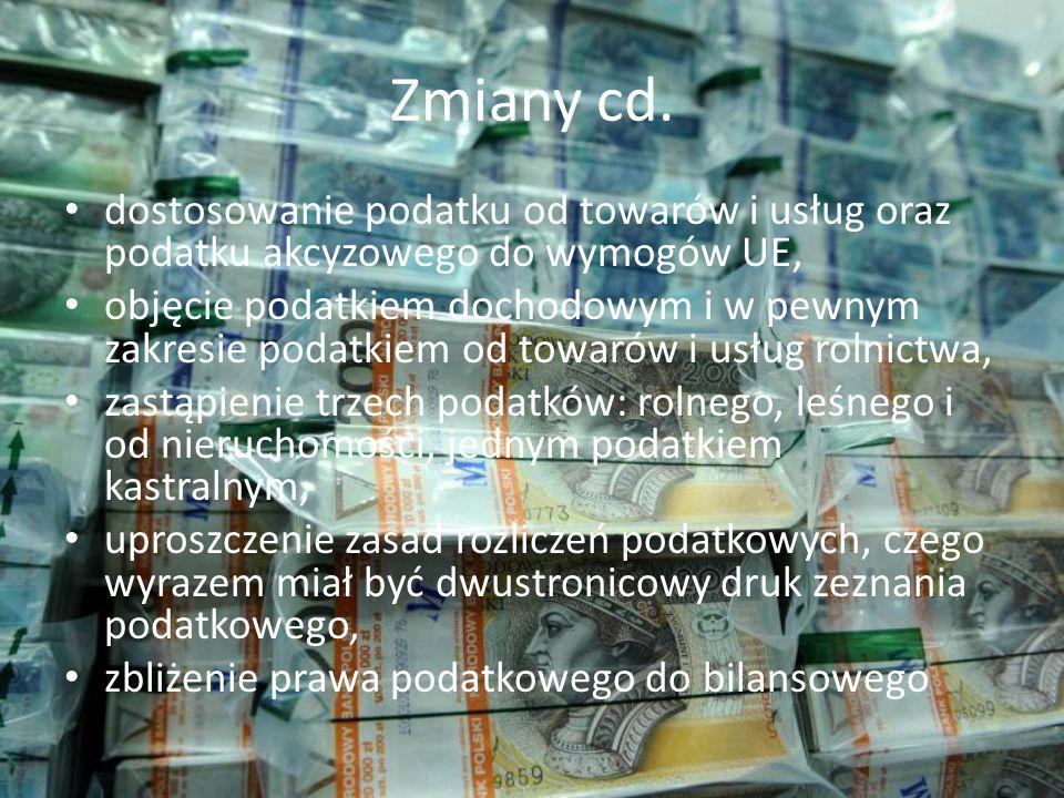 Zmiany cd. dostosowanie podatku od towarów i usług oraz podatku akcyzowego do wymogów UE,
