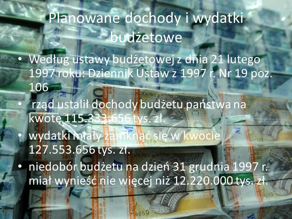 Planowane dochody i wydatki budżetowe
