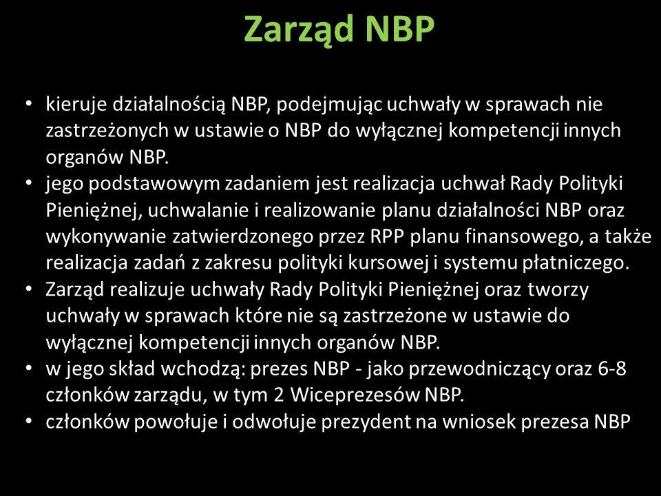 Zarząd NBP kieruje działalnością NBP, podejmując uchwały w sprawach nie zastrzeżonych w ustawie o NBP do wyłącznej kompetencji innych organów NBP.