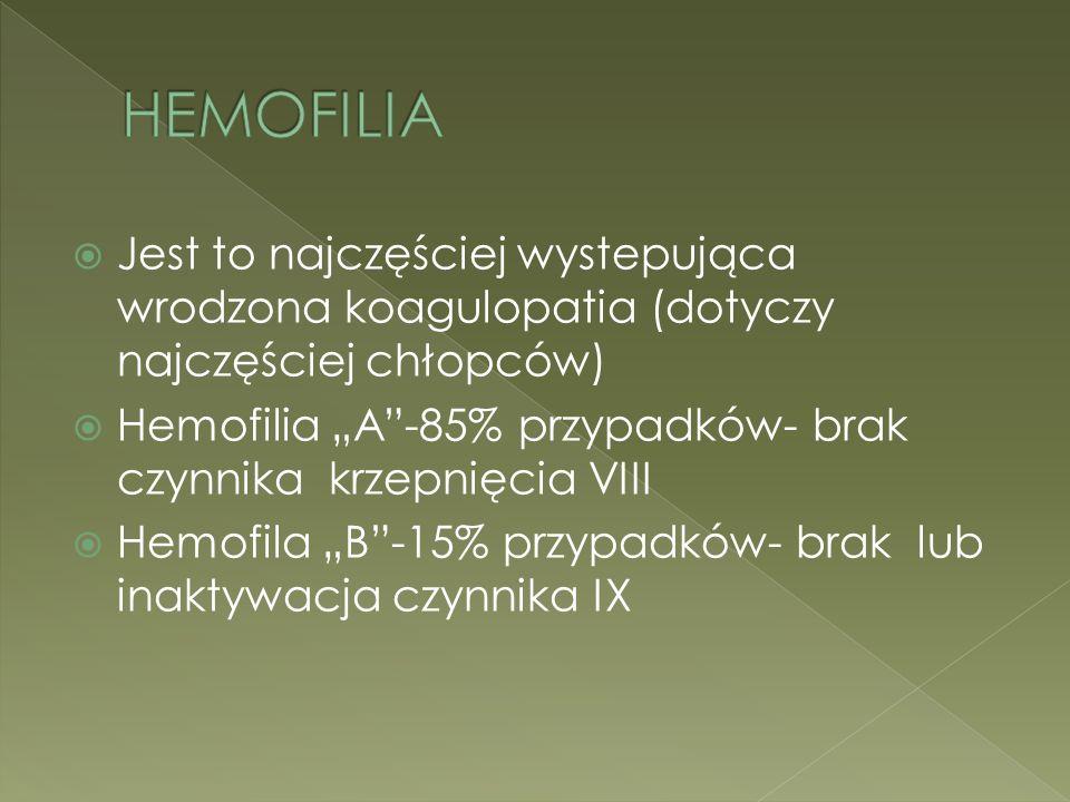 HEMOFILIA Jest to najczęściej wystepująca wrodzona koagulopatia (dotyczy najczęściej chłopców)
