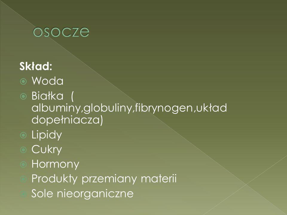 osocze Skład: Woda. Białka ( albuminy,globuliny,fibrynogen,układ dopełniacza) Lipidy. Cukry. Hormony.
