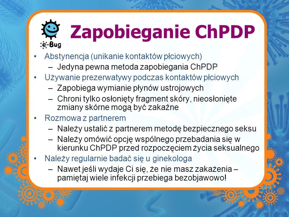 Zapobieganie ChPDP Abstynencja (unikanie kontaktów płciowych)