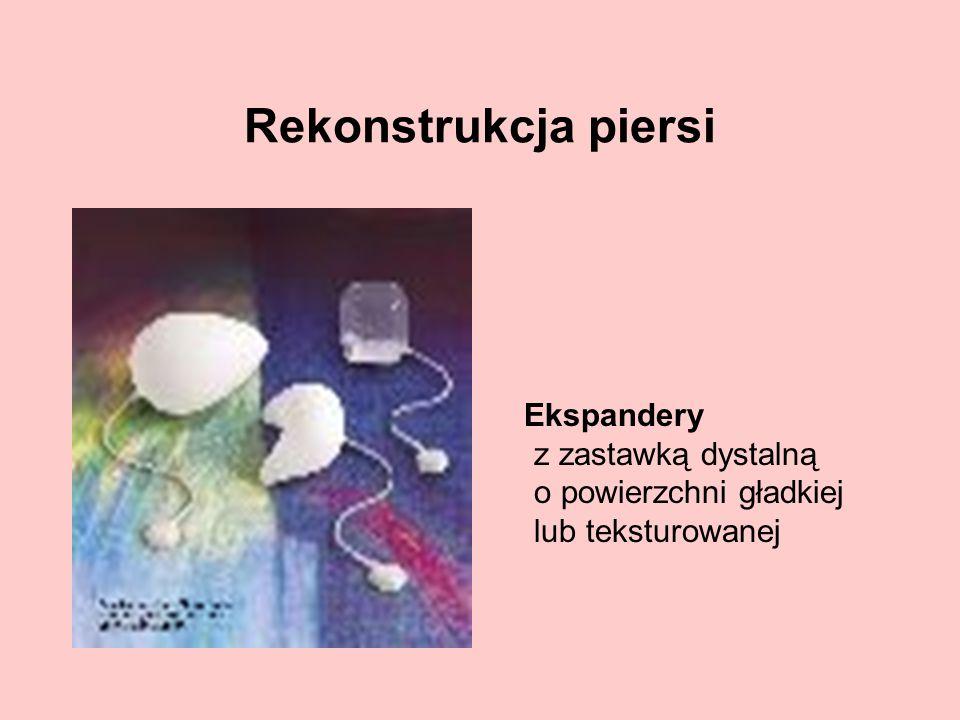 Rekonstrukcja piersi Ekspandery z zastawką dystalną o powierzchni gładkiej lub teksturowanej.