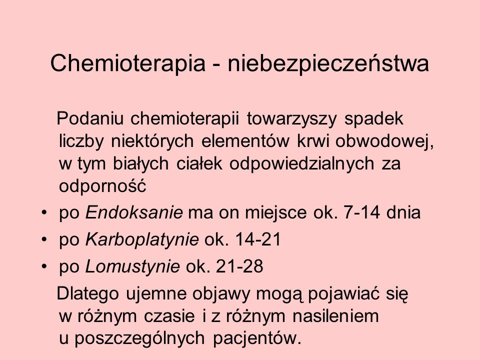 Chemioterapia - niebezpieczeństwa