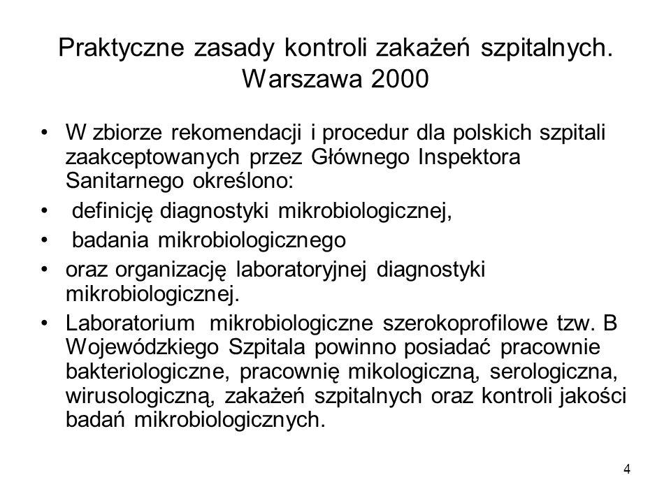 Praktyczne zasady kontroli zakażeń szpitalnych. Warszawa 2000