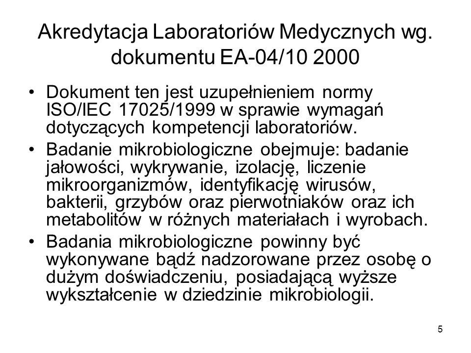 Akredytacja Laboratoriów Medycznych wg. dokumentu EA-04/10 2000