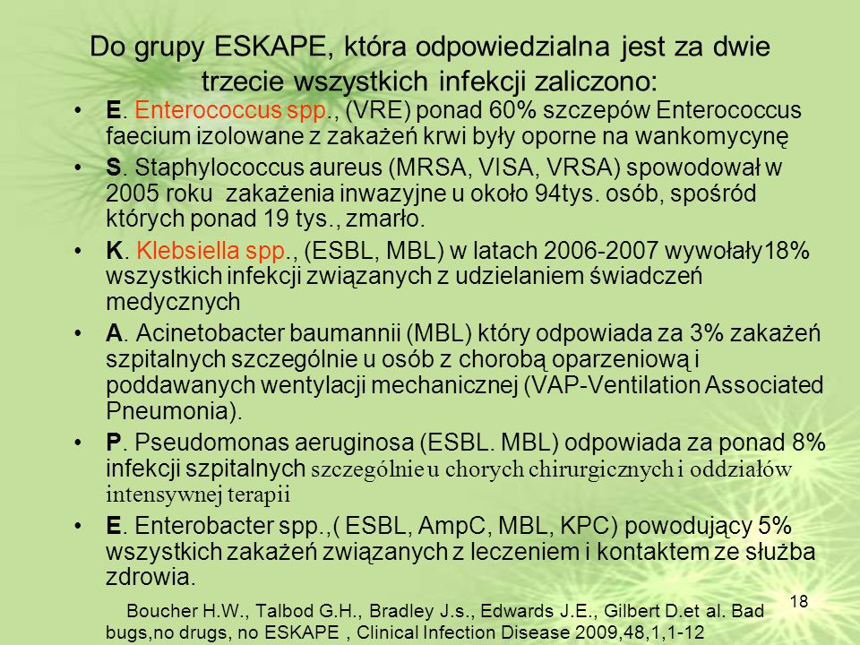 Do grupy ESKAPE, która odpowiedzialna jest za dwie trzecie wszystkich infekcji zaliczono: