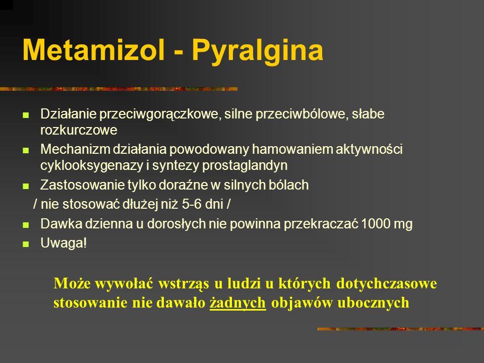 Metamizol - Pyralgina Działanie przeciwgorączkowe, silne przeciwbólowe, słabe rozkurczowe.