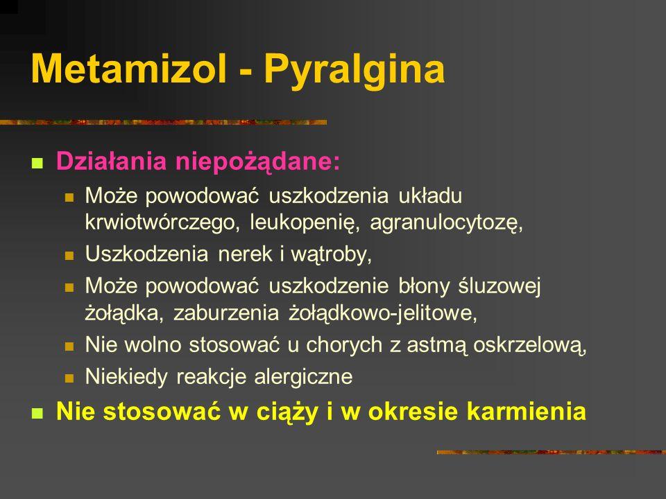 Metamizol - Pyralgina Działania niepożądane: