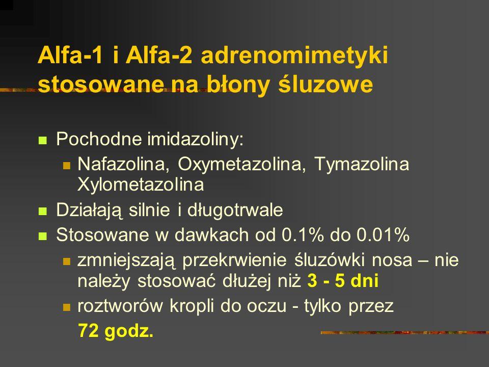 Alfa-1 i Alfa-2 adrenomimetyki stosowane na błony śluzowe