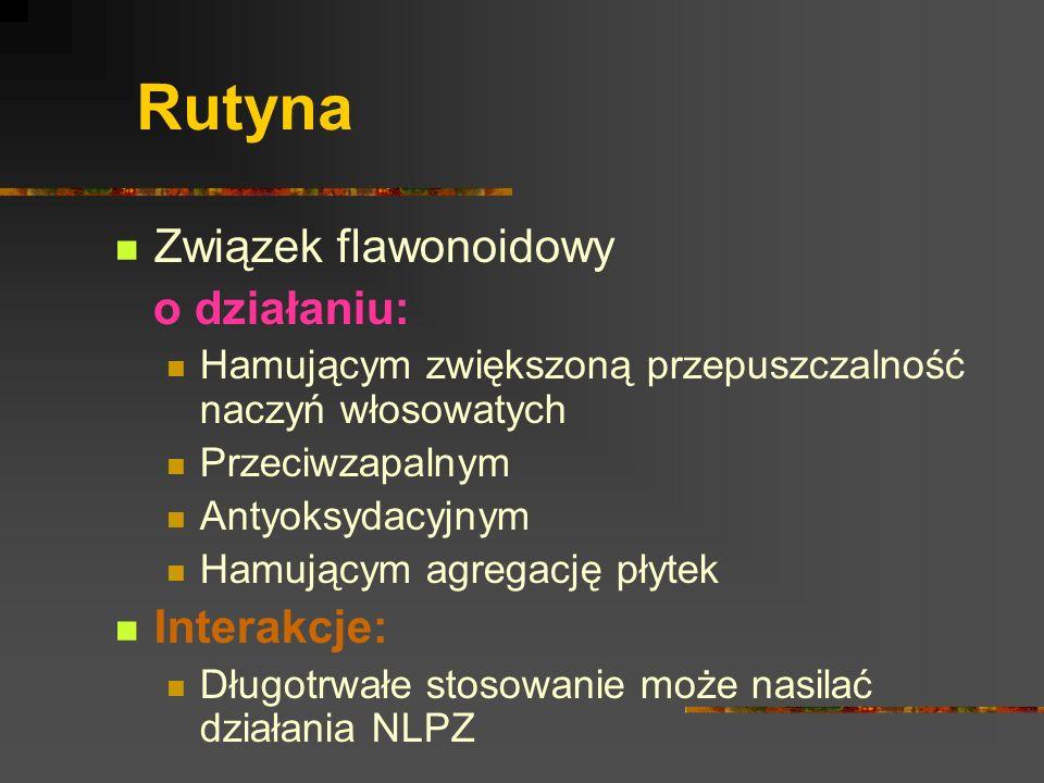 Rutyna Związek flawonoidowy o działaniu: Interakcje: